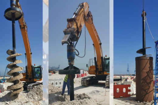 Major UAE Contractor uses Auger Torque for Micro Piling Project as part of Khalifa Port Expansion
